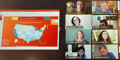 Eight people on a video conference discuss a map of the United States. Inside each state on the map is a number representing the number of women serving LWOP there.