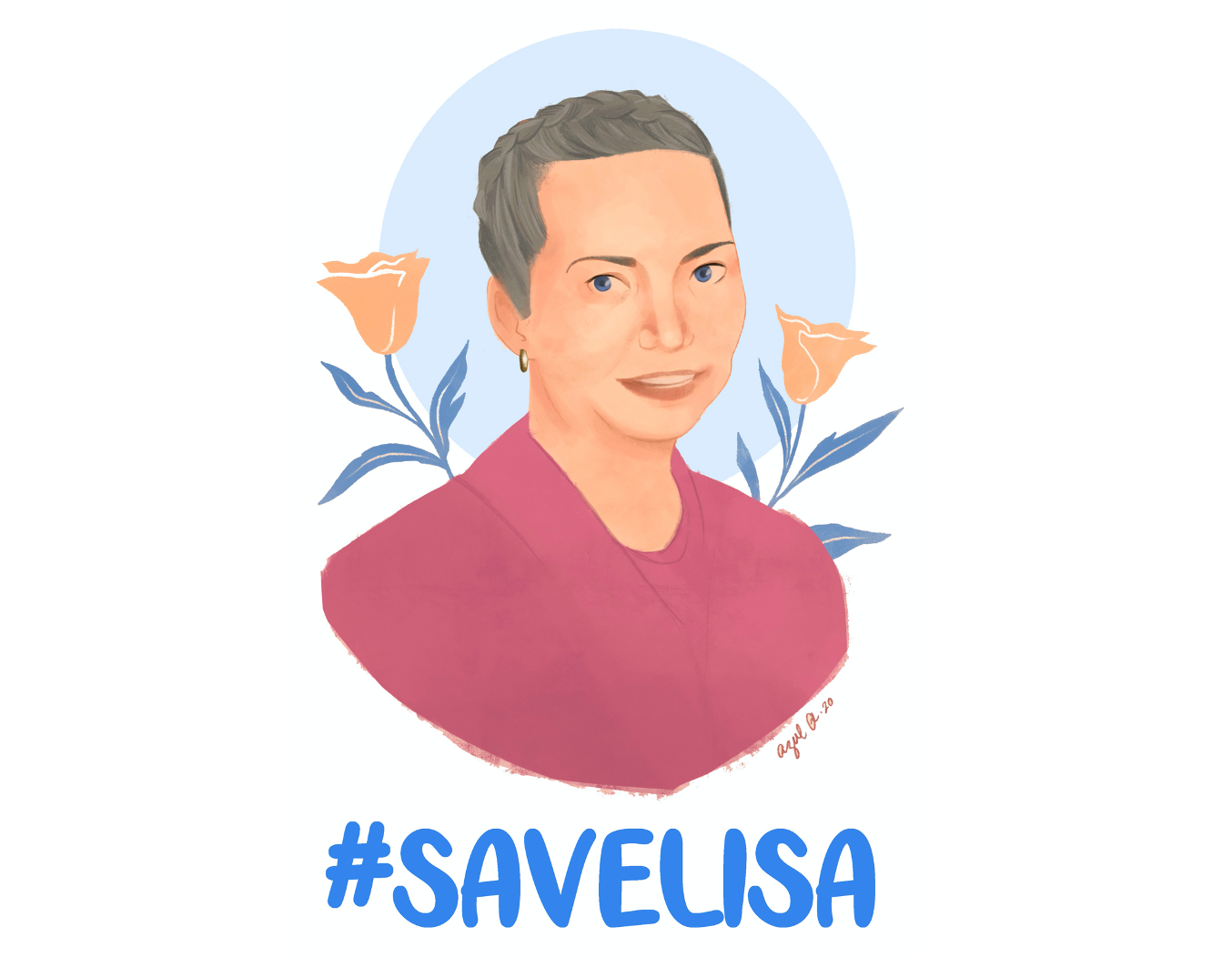 a drawn portrait of a woman with the text #SaveLisa