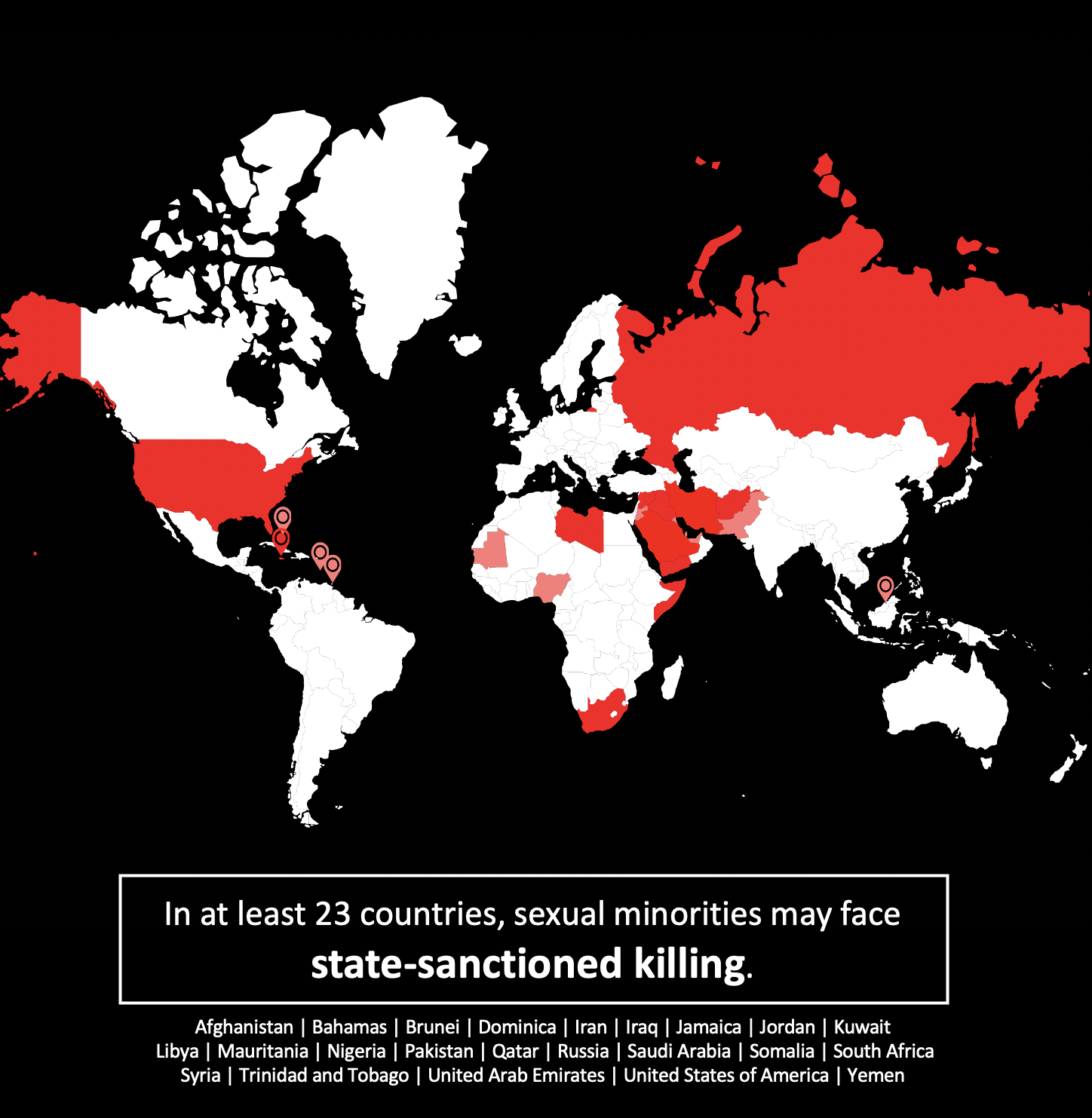 Map that says that in at least 23 countries, sexual minorities may face state-sanctioned killing