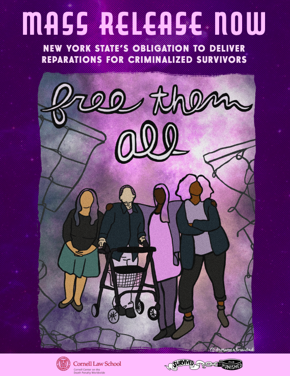 """The title of the report entitled: """"Mass Release Now: New York State's Obligation to deliver reparations for criminalized survivors."""" Under the title is a drawing of four people standing together."""
