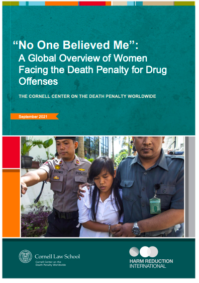 """Cover of the report entitled No One Believed Me"""": A Global Overview of Women Facing the Death Penalty for Drug Offenses"""