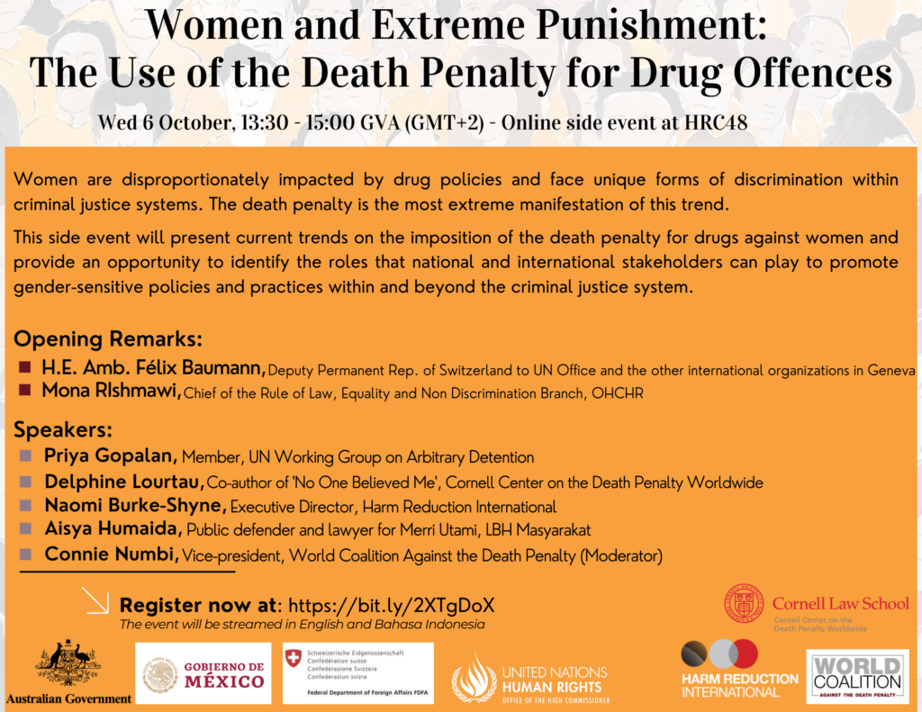 """A flyer advertising the event entitled """"Women and Extreme Punishment: The Use of the Death Penalty for Drug Offenses,"""" which will take place on October 6th at 13:30-15:00 GVA. Speakers will discuss how women are disproportionately impacted by drug policies and face unique forms of discrimination within criminal justice systems."""