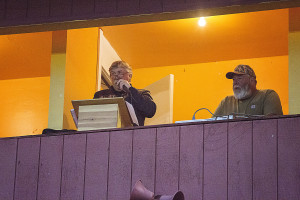 Rod Runyon has been entertaining fans at the Pig Bowl for 14 years! And Mark Helyer once again did an excellent job keeping track of all the points!