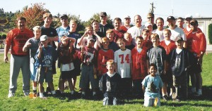 A group of young men and their mentors at an ACTS Buddy Bowl Event