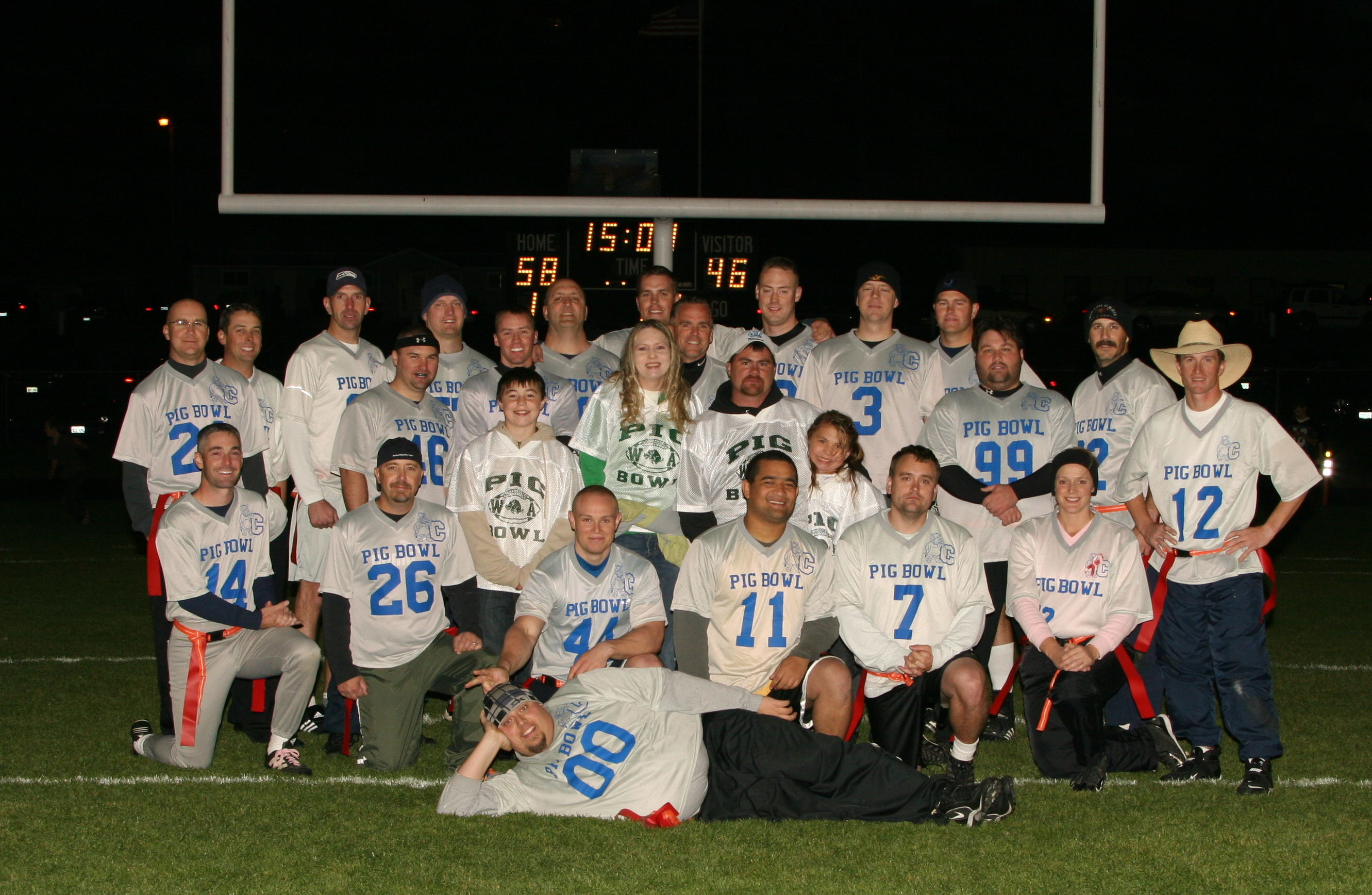 The scoreboard can be seen in this 2008 halftime photo of the Oregon Team with the Walter Family. The score was actually 458 to 246 at half!