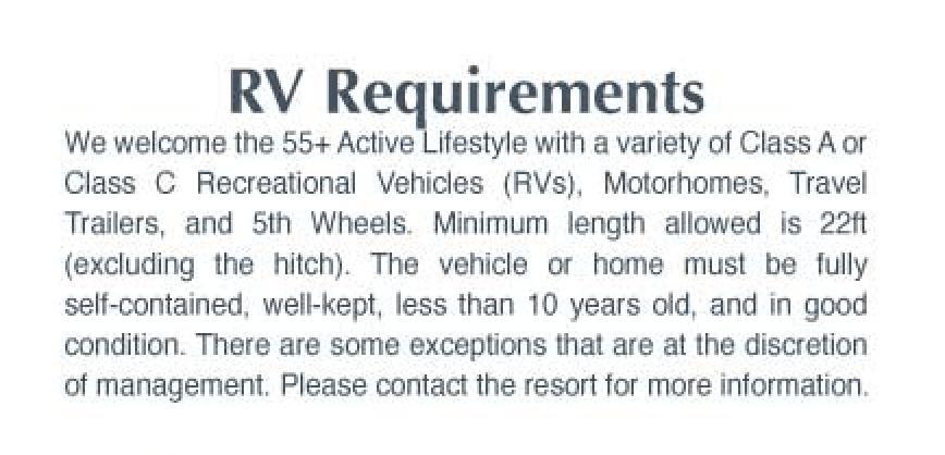 pam gardens rv requirements
