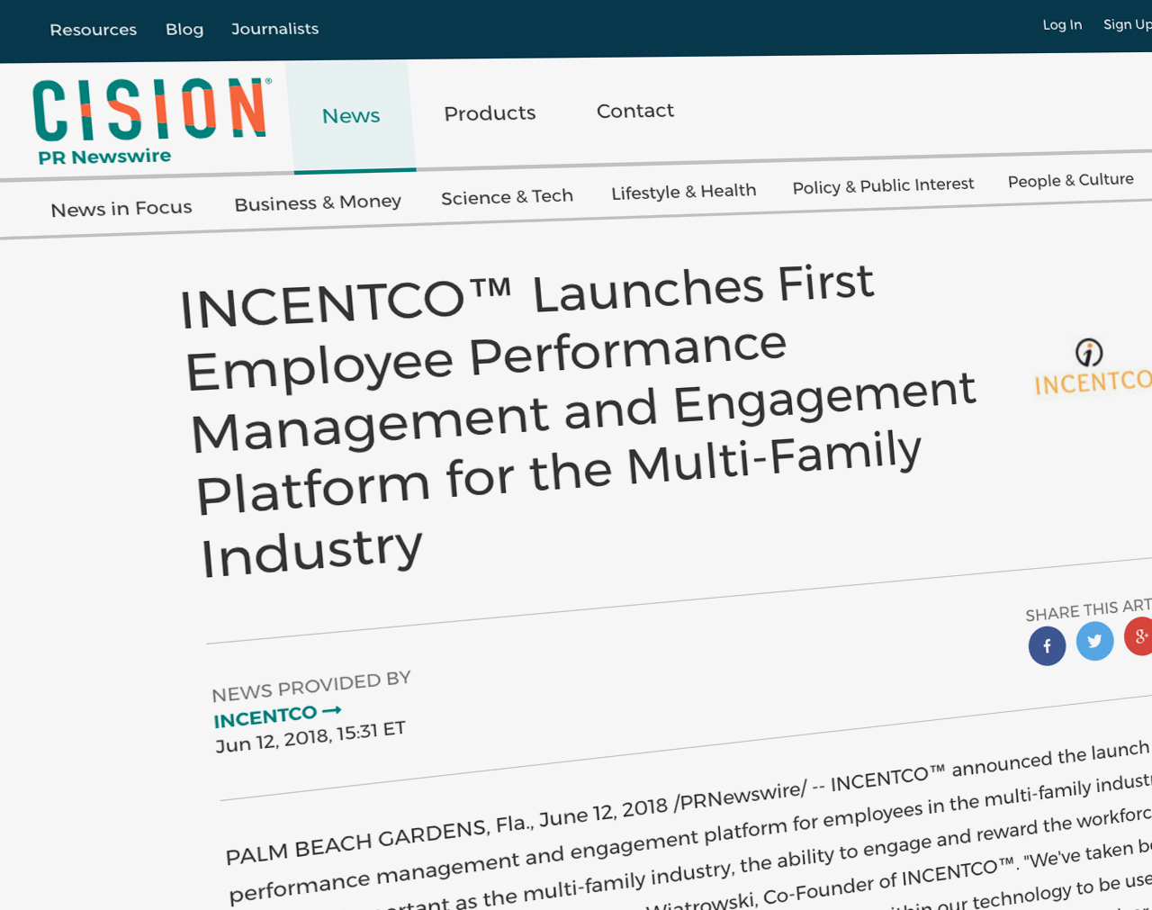 INCENTCO™ Launches First Employee Performance Management and Engagement Platform for the Multi-Family Industry