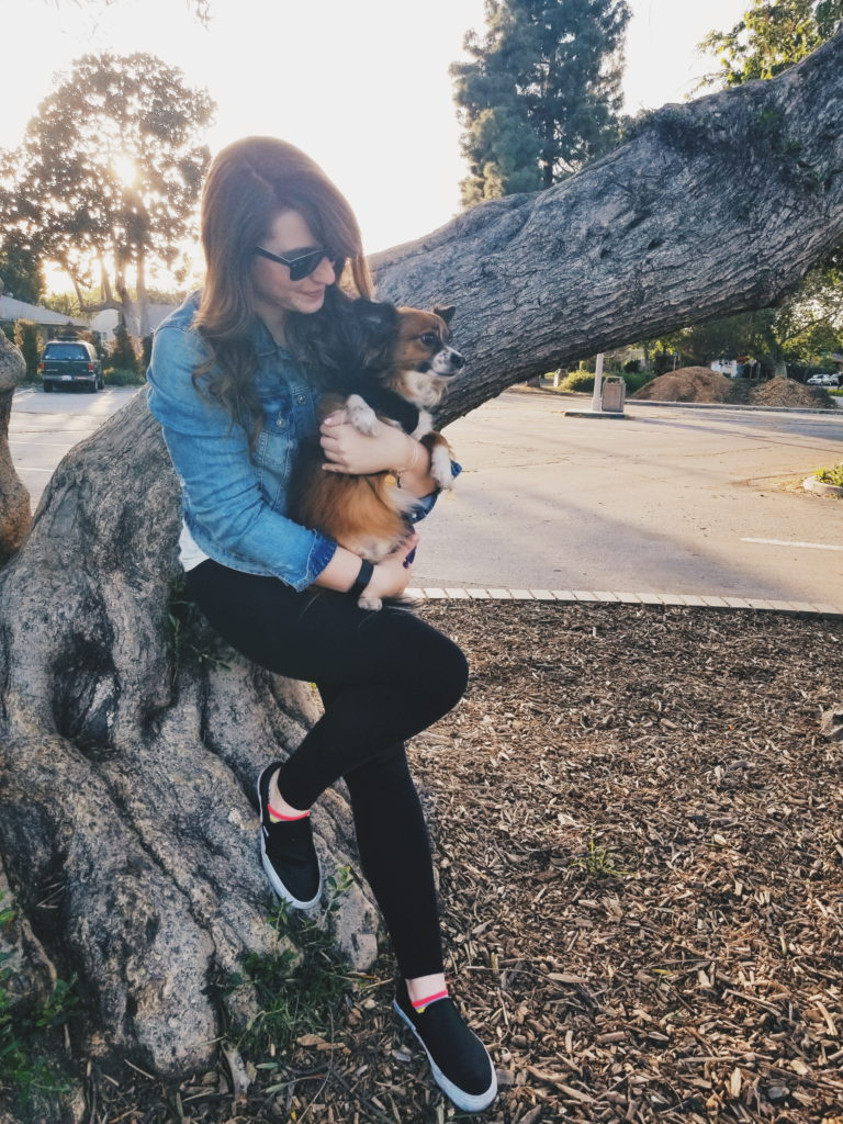 girl with dog - spring bucket list