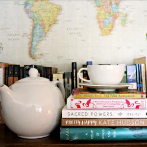 tea, books, map, Spring