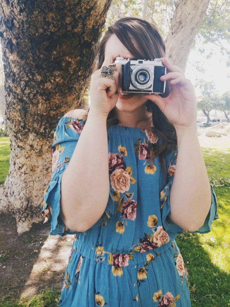 vintage camera, spring, summer, lookbook, romper, target