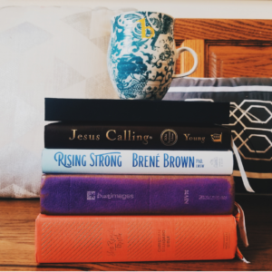 Stack of books with coffee for my morning quiet time