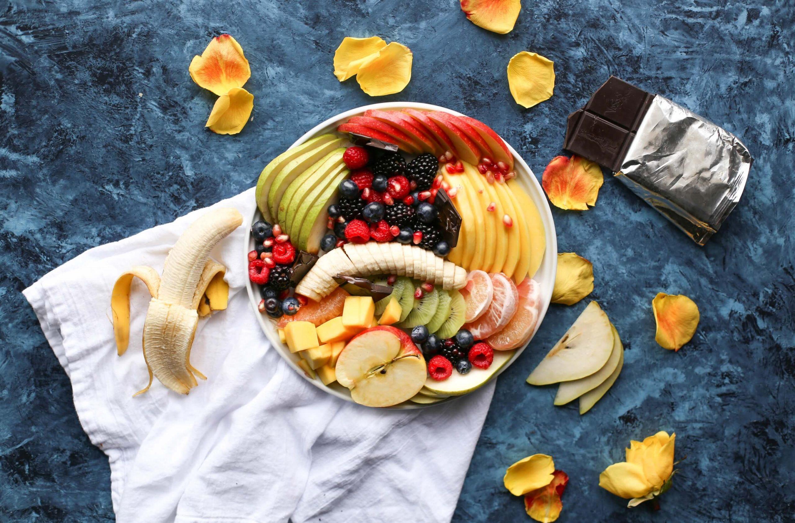 Fruit Platter with Banana, Mango, Berries and Orange