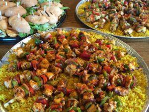skewers on catering plate