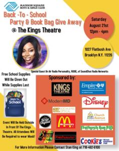 Back to School Party & Book Bag Giveaway @ Kings Theatre