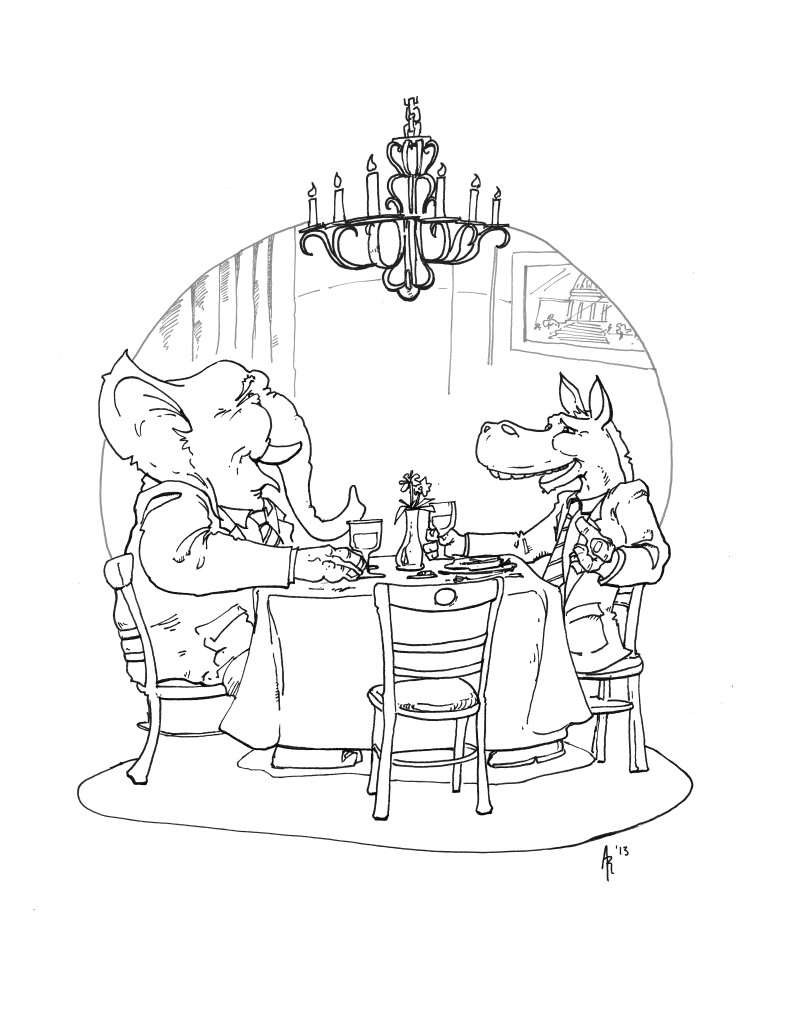 Restaurant Mag Political Illus Mockup