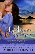 Romance novel cover for the medieval romance The Lady and the Falconer