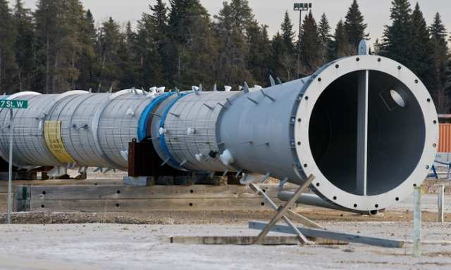 A cyclindrical component sits on blocks at the site where a canceled BA Energy upgrader would have been located, west of Bruderheim, Alberta on Jan. 11, 2012. The site is east of a pumping station to be built by Enbridge pending approval of the Northern Gateway pipeline. The Enbridge project is undergoing a review process that includes participation of hundreds of intervenor groups in Kitimat, B.C. IAN KUCERAK/EDMONTON SUN/QMI AGENCY