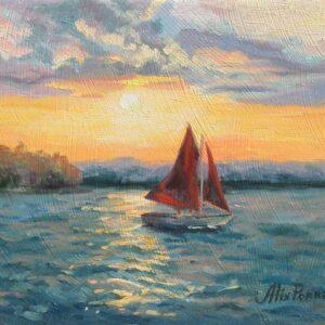 Red Sail at Sunset