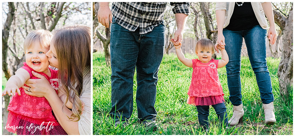Family spring mini session at the provo orchard with a toddler. I love taking pictures of toddlers because of their wiggly energy and huge personalities.   Gilbert Family Photographer   Maren Elizabeth Photography