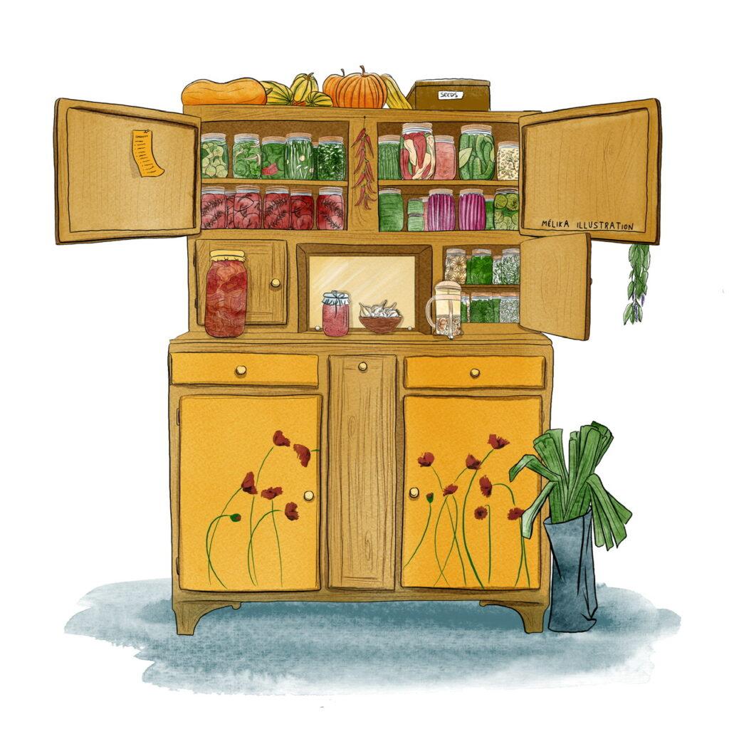 Illustration d'un meuble remplis de conserves de légumes et d'herbes sechees