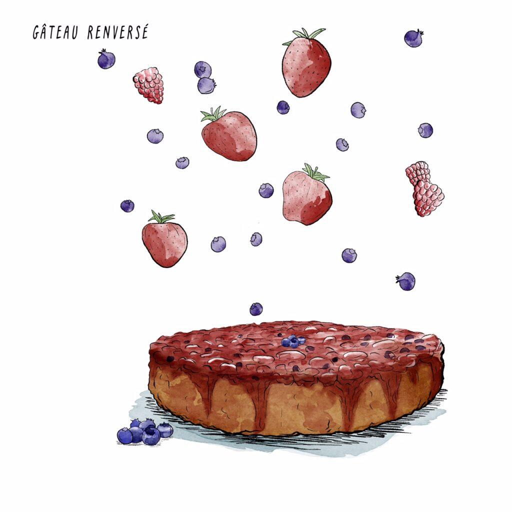 Gâteau renversé - mélika illustration - Ecosociété
