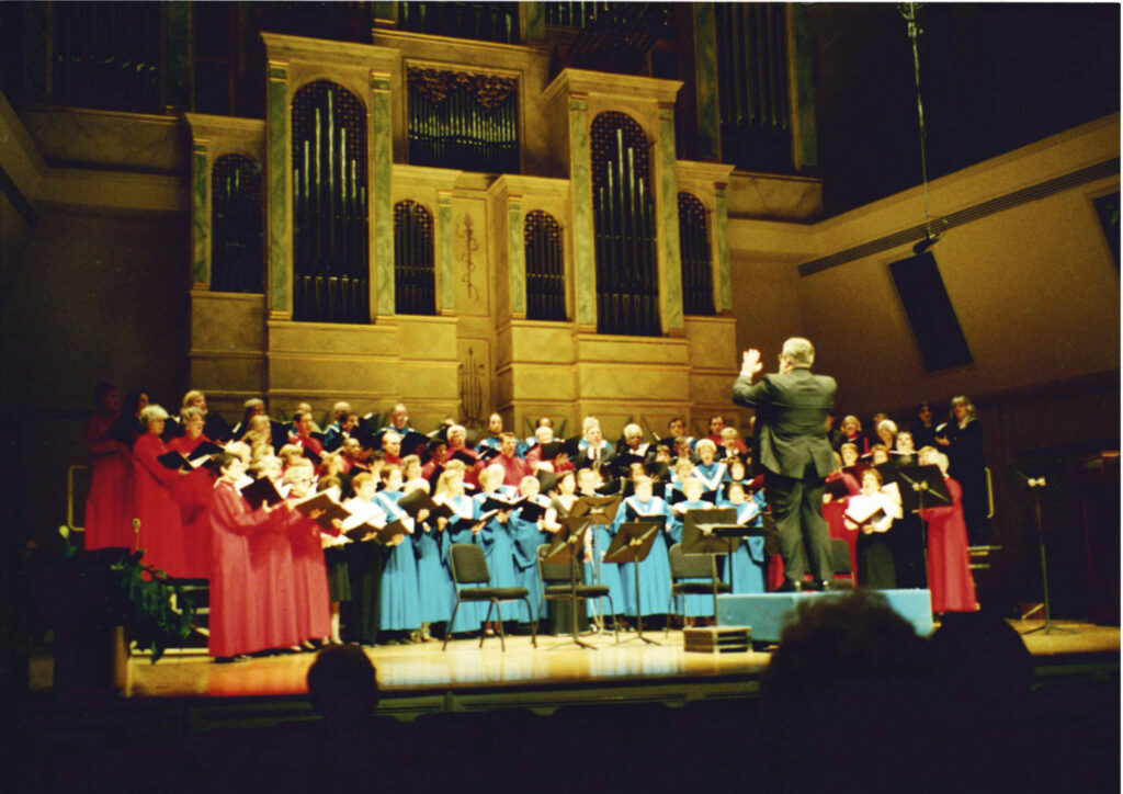 Brent Weaver conducting singers at Spivey Hall, April 2001
