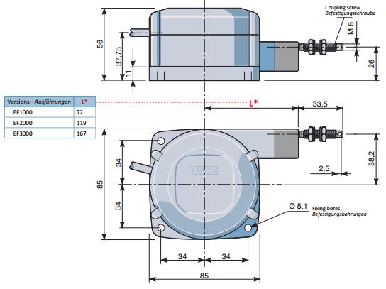 Draw Wire Encoders Products EF1000-3000 Dimensions FIAMA US