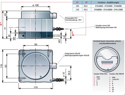 Draw Wire Encoders Products EFA4000-12000 Dimensions FIAMA US
