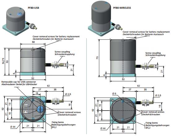 Draw Wire Encoders Products PF80 Dimensions FIAMA US