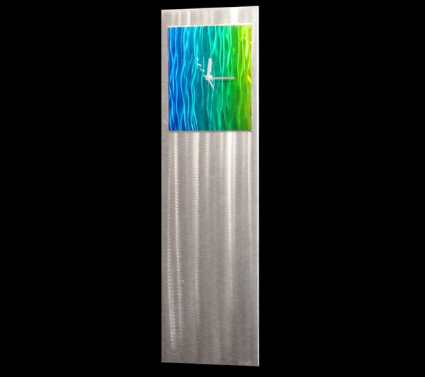 Cobalt/Emerald/Yellow Vibe Clock - our artisan Fine Metal Art