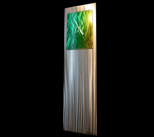 Green/Yellow Vibe Clock - our artisan Fine Metal Art