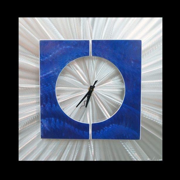 Splice Clock Blue - our artisan Fine Metal Art