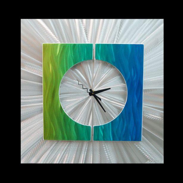 Splice Clock Green - our artisan Fine Metal Art