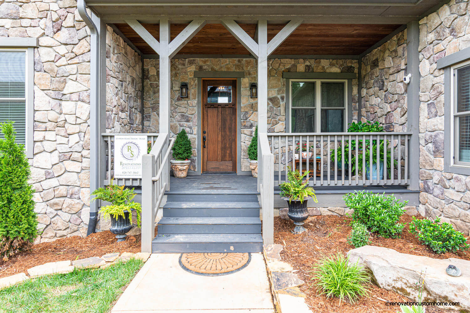 Front Entrance with Beautiful Stone work