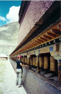 Hundreds of prayer wheels circled the Tibetan temples