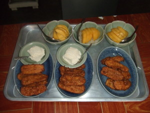 Banana fritters and mango pudding