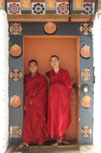 Monks in a doorway