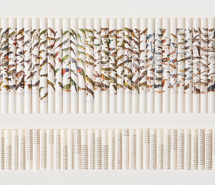 Cacophony: Capture Count Curtail Caption, 2008, rolled paper, 61.5 x 92 x 6 cm