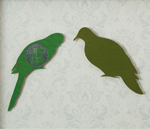 Silent Gathering, 2009, hand cut book covers & wallpaper, 34 x 44.5 cm