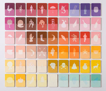 La Loteria, Rosa Sirena, 2008, hand cut Mexican paint swatch cards, 91 x 100 x 4.5 cm