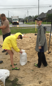 My kids helped me bag hundreds of sand bags