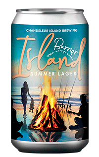 Barrier Island Lager Beer Can Fire on the Beach