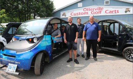 Green Party leader tours community in road-legal low-speed electric vehicle