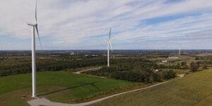 Fleetwood Creek Conservation Area Industrial wind turbine drone footage