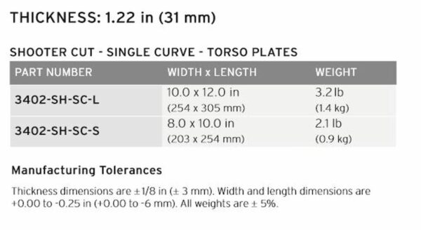 HESCO 400 Series Armor Level 3 Stand Alone Plate 3402
