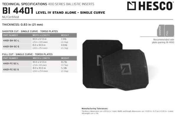 HESCO 400 Series Armor Level 4 Stand Alone Plates 4401