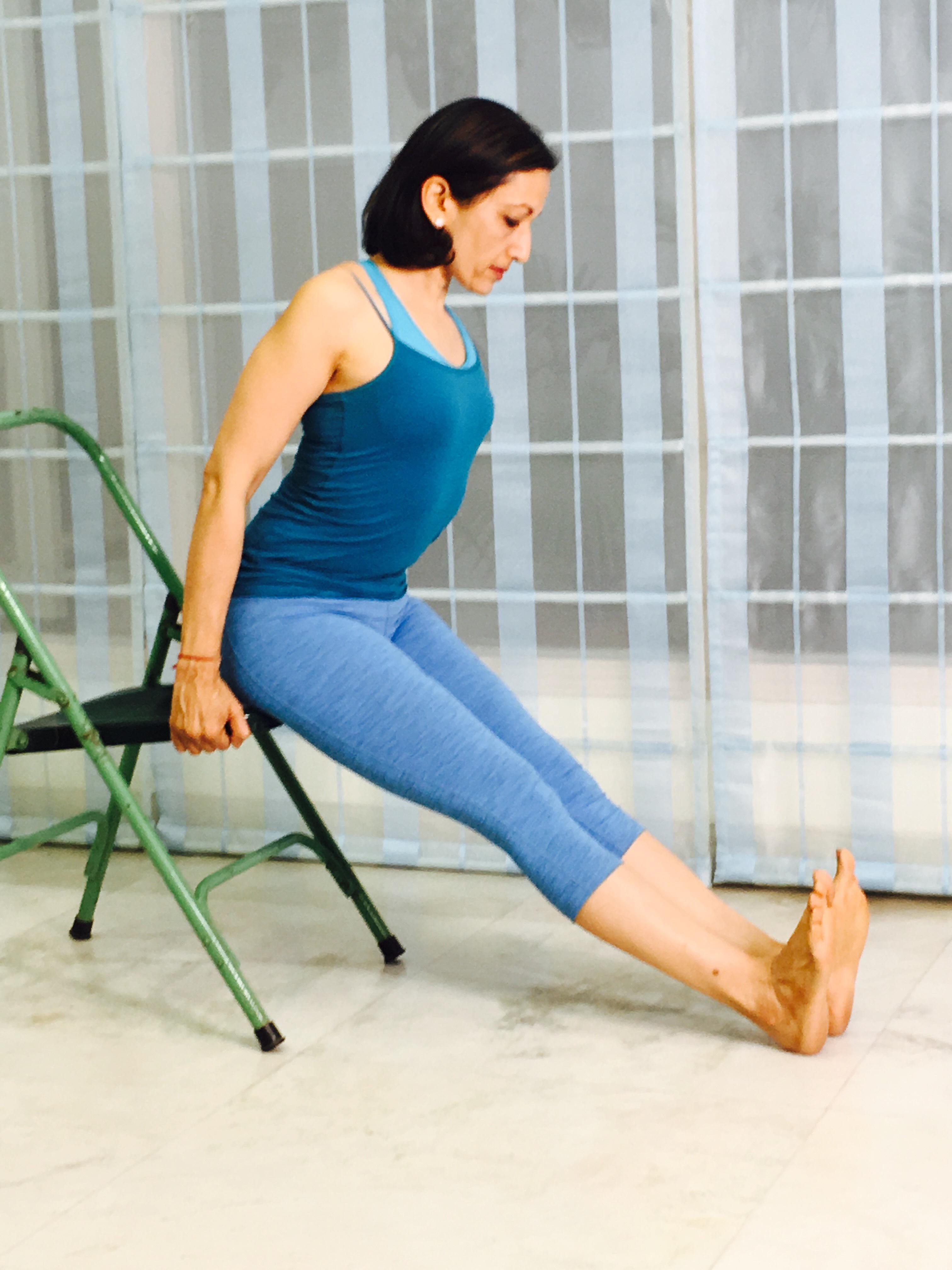 yoga chair pose hamstring strech