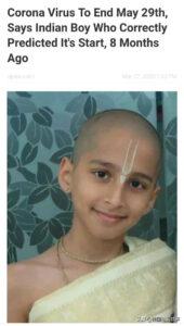 印度男孩预言武汉肺炎五月二十九号结束