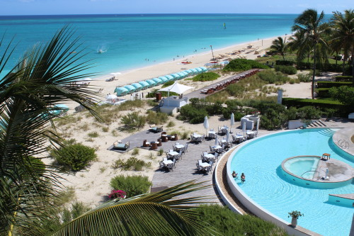 The beach and part of the Regent pool from the penthouse