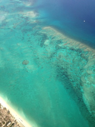 The reef off of Providenciales from the air